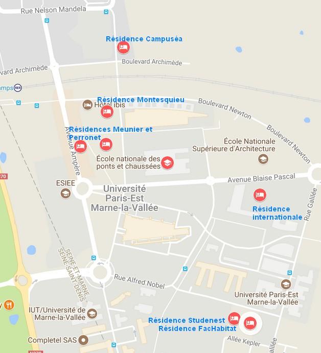 Carte des résidences à proximité de l'Ecole des Ponts ParisTech